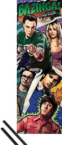 1art1® Poster + Suspension : The Big Bang Theory Poster de Porte (158x53 cm) Comic Bazinga Et Kit De Fixation Noir