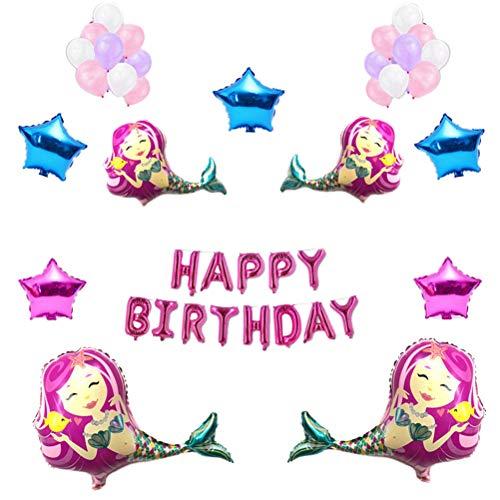 meerjungfrau Luftballons Set aluminiumfolie Happy Birthday Star Ballon kit für Baby Shower Marine Theme Party hochzeitsdekor (rosa) ()