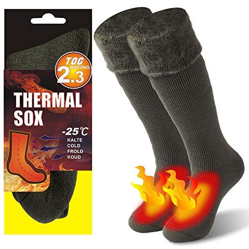 KitNSox Herren Frauen Dick Warm Isolierte Beheizte Kofferraum Thermo-Socken für kalte Wetter, Herren Damen, Long&Green, US Size: 9-12 -