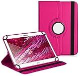 Vision-Tech Premium Universal-Hülle für Tablet-PC Odys Falcon 10 Plus 3G 10 ZOLL mit DREHFUNKTION und HALTER/STÄNDER-FUNKTION Schutz-Case Flip-Tasche Cover Pink