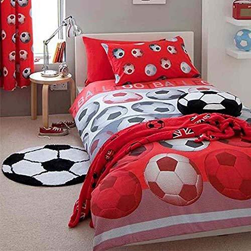 SOCCER BEDROOMS Juego de Funda de edredón para Cama Individual, diseño de fútbol, Color Rojo