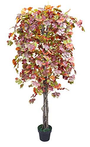 Decovego Ginkgo Ginkgobaum Kunstpflanze Kunstbaum Künstliche Pflanze mit Echtholz braune Blätter 180cm