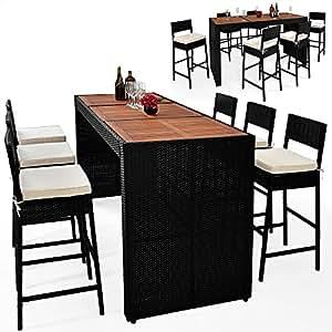 alu rattan bar set mit 6 st hlen und akazienholztischplatte gartenm bel sitzgarnitur. Black Bedroom Furniture Sets. Home Design Ideas
