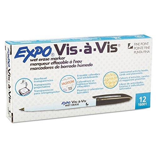 Expo Vis-A-Vis Wet-erase Marker, fine point, Noir d'encre, Douzaine (San16001)