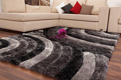 Preisvergleich Produktbild Dreams4Home Hochflorteppich 'Circle IV', silber, grau, schwarz, handgefertigt, 45 mm, Hochflor, Shaggy, 80x150 120x170 160x230, 3D-Effekt, weich, Größe:160 x 230 cm