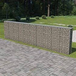 Tidyard Mur en Gabion   Gabions Métalliques   Jardin Cage Métallique   Panier en Gabion avec Couvercles Acier Galvanisé 600 x 30 x 150 cm