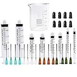 Spritze mit Nadeln mit stumpfer Spitze und Caps - 20ml, 5ml, 3 ml, 1 ml, und 14Gx1.5 '' 16Gx1.5 '' 18Gx1.5 '' 20Gx1.5 '' für Nachfüllung und Mess E-Saft, E-Liquids, E -cigs, Vape, Leimgerät, Ölabgabe(Spritze + Messbecher)