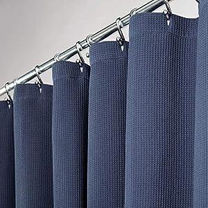 mDesign Cortinas para baño 100% algodón – Cortinas de ducha bonitas y estructuradas – Cortinas de baño de diseño y de cuidado fácil – azul marino