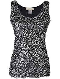 4e160d47241a Anna-Kaci Womens Casual Formal Embroidered Lace Sequin Sleeveless Shirt  Tank Top
