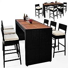 Alu Rattan Bar Set mit 6 Stühlen und Akazienholztischplatte Gartenmöbel Sitzgarnitur