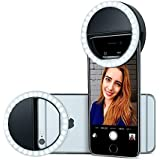 ZELENOR XJ-01 Original 36 Led High Quality Selfie Beauty Light Ring Selfie Light Ring, Moonlight Selfie, Enhance Brightness, Durable Selfie Ring Light And Shockproof, Selfie Light Ring With Light 36 LED Flash Selfie Light Ring For Night Selfies Clip Type Selfie Ring, 3 Different Levels Selfie Ring, Selfie Flash Ring For Smartphones Compatible For All Smart Phones Including Apple, Android and Laptop, Camera Photography, Videography (Black)