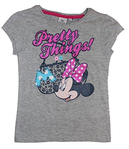 Disney Minnie Maus Mädchen T-Shirt mit Glitzer (128, Grau 2) (Transformers T-shirts 2)