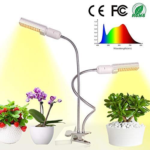 Relassy 45W Lampada per Piante 88 Leds Luci per Piante con collo di cigno flessibile, due lampadine sostituibili E27, spettro completo coltiva la lampada per Piante da appartamento, Serra (F-45W)