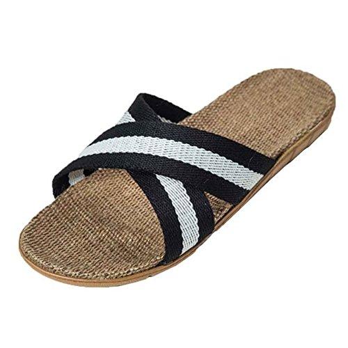 SAGUARO® Weiches Gemütliches Anti-Rutsch-Bad Dusche Haushalts Braid Flax Pantoffel Sandale Schwarz