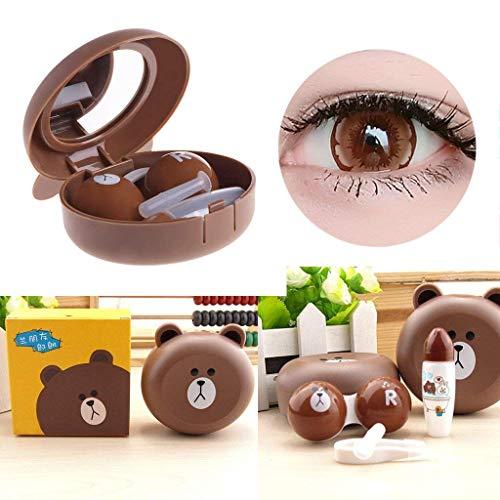 jiamins niedliche Tier-Kontaktlinsen, Kunststoff, für Damen, mit Spiegel niedlich Eyeglass mit Kontaktlinsen- und mit Sucker Tweezer