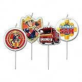Lot 4 Bougies Sam Le Pompier 7,5cm - Décoration Gateau Anniversaire - 907
