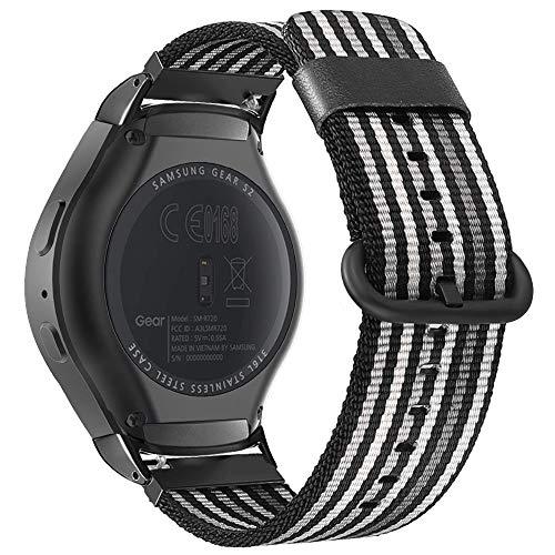 Fintie Armband für Samsung Gear S2 Sport Smart Watch - Premium Nylon UhrBand Uhrenarmband Ersatzband Replacement, Schwarz/Weiß