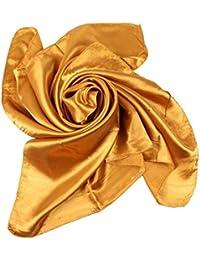 Xiang Ru Femme Été Grand Foulard Carré Couleur Uni en Soie Imité ... 5afc0432be8