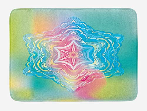 OQUYCZ Mandala Bath Mat, Psychedelic Liquid Layered Digital Ethnic Floral Icon in Soft Colors Illustration, Plush Bathroom Decor Mat with Non Slip Backing, 23.6 W X 15.7 W Inches, Blue Pink - Floral Layered