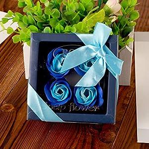 serliyRosen-Duftseifen Romantisches Geschenkset, 4 Seifenblumen mit Geschenkbox für Geburtstagsfeier, Muttertag, Valentinstag, Jubiläum, Bath Soap Rose Flower Gift Set for Women