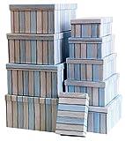 Mediablue Aufbewahrungsboxen Schachteln Geschenkbox im 10er Set mit Deckel Verschiedene Designs (Holzoptik hell Blau Streifen)