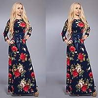 Size L Elegant Flower Design Maxi Evening Dress For Women (with Belt))