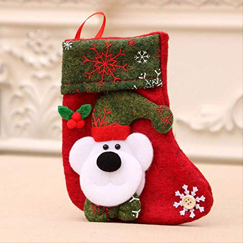 LNNANA Weihnachten Weihnachtsstrümpfe Weihnachtsgeschenkbeutel Weihnachtsdekoration Druck Kleiner Socken Bonbontüten Weihnachtsdekoration Socken Bär -