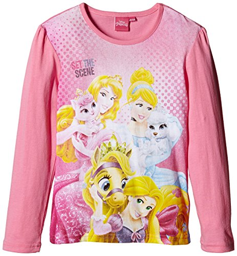 Disney LS T-SHIRT-T-shirt Bambine e ragazze,    Rosa (Pink) 5 anni