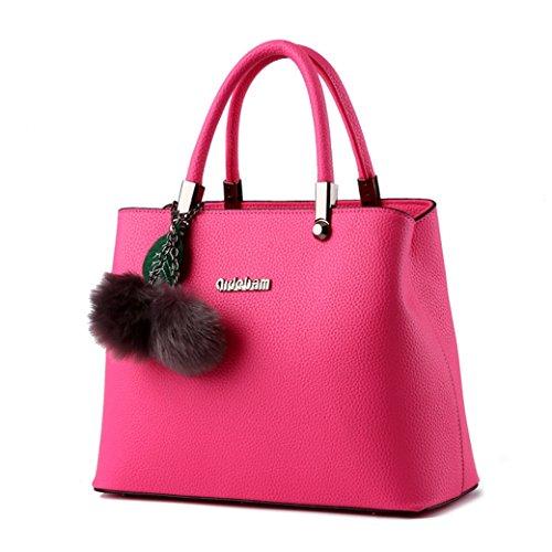Donna Borse a Mano Granulate di Alta Capacità Semplice e Classico con Due Capelli Palle e Foglio Decorativo Cielo blu Rosa