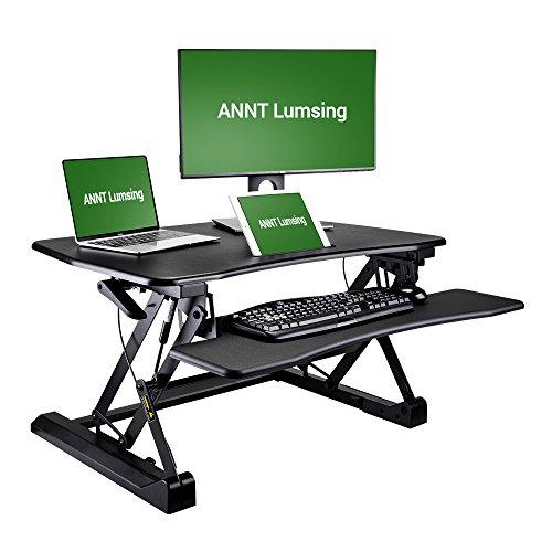 Sitz Stehschreibtisch, Lumsing Steharbeitsplatz 145 - 500mm Höhenverstellbarer Computer Tisch für...