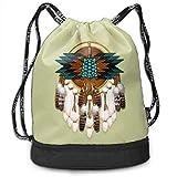 ewtretr Sacs à Cordon,Sac à Dos Native American Feather 3 Drawstring Backpack...