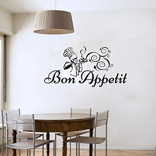 Wandsticker Bon Appetit Aufkleber Vinyl Aufkleber Gericht zu kochen Chef Hat Home Decor Innen Design Küche Café-Restaurant Wandbild mn278