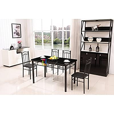 Modern Black Metal Dining Table Set Glass Top 4 Faux Leather Chairs - cheap UK light store.