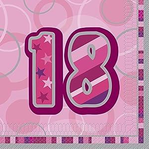 Unique Party- Paquete de 16 servilletas de Papel cumpleaños, Color rosa, edad 18 (28438)