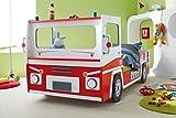 Autobett Feuerwehr inkl. Rollrost 90*200 rot weiß SOS Truck Kinderbett Kinderzimmer Rennbett Jugendbett Jugendliege Bett Einzelbett Spielbett