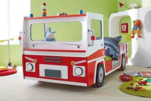 *Autobett Feuerwehr inkl. Rollrost 90*200 rot weiß SOS Truck Kinderbett Kinderzimmer Rennbett Jugendbett Jugendliege Bett Einzelbett Spielbett*