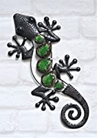 Metal Decorative Wall Art Garden Ornament Hanging Lizard Outdoor Gecko Home Deco Free Attach To Wall, Tree, Fence GREEN by Deluxe