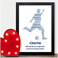 Personalised Will You Be My Page Boy Usher Best Man? Football Wedding Gifts - Will You Be Presents for Wedding Party Favours - A5, A4, A3 Prints and Frames - 18mm Wooden Blocks - FREE Personalisation