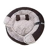 SHPEHP Deluxe Haustierbett, Hundebett mit kuscheligem Plüsch, warmes Haustierbett Donut Cuddler Haustierbett, mittelgroße und große Hunde atmungsaktiv-Brown-M