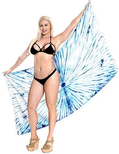 La Leela Kreis Tie Dye Rayon Strand Hawaiische Schwimmen Pareo Wrap Sarong Königsblau (Lange Rayon Tie Dye Wrap)