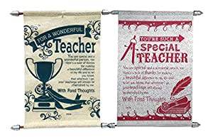 Saugat Traders Farewell Gift for Teachers - Pack of 2 Teacher Scroll Card- Card for Teacher-Farewell Card for Teacher