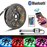 LED Strip, mopoin tira LED TV Fondo RGB 2 m/6.56ft SMD 5050 Luz banda tira con iOS and Android Bluetooth Control 24 Keys Remote