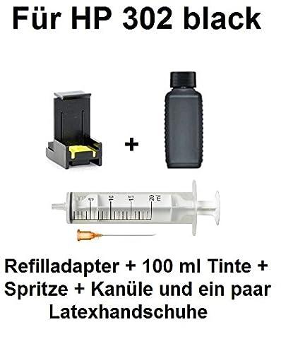 Remplissage Adaptateur pour HP 302Black/302Noir XL + 100ml PREMIUM Noir d'encre pigmentés. Avec cet adaptateur remplir vos Cartouche même. QUALITÉ Adaptateur et marque d'encre de haute qualité avec poignées quelques en seulement quelques minutes. Les deux est également utilisé dans de nombreux Imprimante stations-service. Quantité suffit pour 6d'encre XL befüllungen ou 20befüllungen la cartouche Normal.