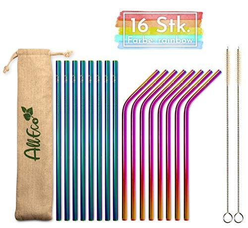 AllEco Edelstahl Strohhalm wiederverwendbar 16er Set bunt Pick & Mix farbig + 2 Reinigungsbürsten + Eco-Beutel, freie Farbwahl - Rosegold, Gold, schwarz, blau, lila, Regenbogen