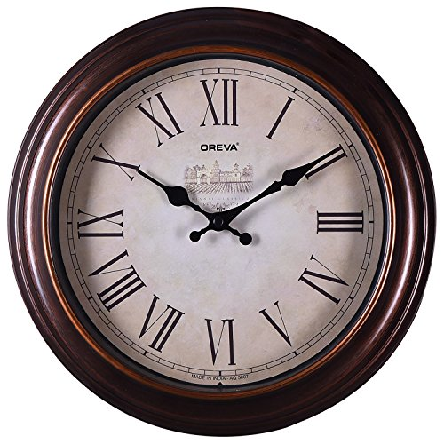 Ajanta Quartz Wooden Finished Plastic Limited Edition Round Shape With Roman Numbers 30.5 cm X 30.5 cm Fancy Premium Home Decor Wall Clock (Brown) For Home And Office