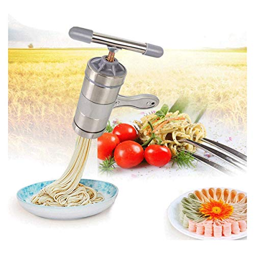 popowbe Edelstahl Manuelle Nudeln Drücken Maschine Pasta Maker mit 5Noodle Werkzeug Grip Pasta Server