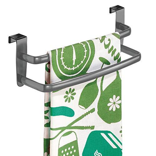 mDesign Geschirrtuchhalter gebogen für die Küche - doppelter Handtuchhalter zum Einhängen in die Küchenschranktür - Badetuchhalter aus Metall - Graphitgrau -