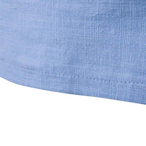 Maglietta a maniche lunghe uomo, DoraMe Camicia Lunga Allungata Tee Bordo Curvo, Slim Fit taglie forti Blu
