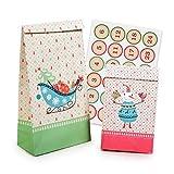 Pajoma 50212, set'Christmas', 24 sacchetti regalo con numeri adesivi, 2 misure