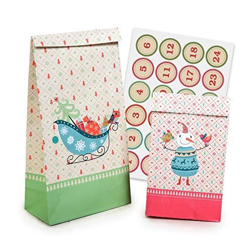 """Pajoma 50212, Weihnachtsset """"Christmas"""", 2 Größen, 24 Geschenktüten, inkl. Zahlen-Sticker"""